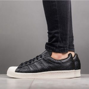 Adidas Superstars 80's BLACK Leather Sneakers A6